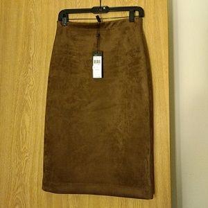 Bcbg faux suade skirt